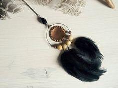 Maeli - boho gypsy tribal dreamcatcher pagan feather vintage talisman necklace