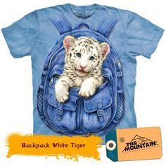 Backpack White Tiger Kids T-Shirt Children's Youth Tee Zoo Animals, Cute Animals, Tiger Shirt, T Shirt, Lion Tigre, White Tiger Cubs, White Tigers, Rocker, Fluffy Animals