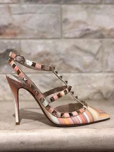 dbd556aab8 NIB Valentino Rockstud Native Couture Orange Leather T Strap Heel Pump 39