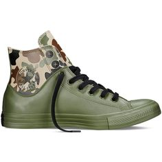 Converse Chuck Taylor All Star Camo Rubber – herbal Sneakers (115 BAM) ❤ liked on Polyvore featuring shoes, sneakers, herbal, camo sneakers, camouflage sneakers, camouflage rubber boots, rain boots and camouflage rain boots