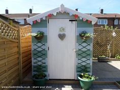Beach Hut Shed is an entrant for Shed of the year 2014 via readersheds – do pallet Beach Hut Shed, Beach Hut Decor, Beach House, Painted Garden Sheds, Mini Shed, Allotment Shed, Small Summer House, Garden Shed Interiors, Shed Of The Year