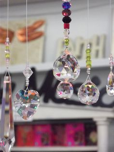 Lovely Hanging crystals that prism all the colors of the rainbow when hung in the sunlight Aroha Soaps New Zealand Ltd Hanging Crystals, Rainbow Colors, All The Colors, Soaps, Sunlight, Light Up, House Design, Antiques, Projects