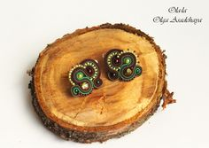 """Collection """"The spirits of the forest"""" necklaces, brooches, earrings and clips """"Paparats""""   soutache, Czech glass beads, Japanese beads, brass elements and chain necklace - adjustable in length, as well as its use as a mono zone))"""
