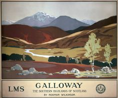 Galloway, Scotland, Vintage UK Railway Poster