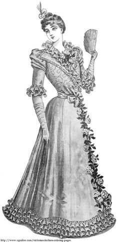 Free Victorian Fashion Coloring Page - Lady with Fan and Roses of Her Dress