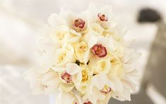 Download wallpapers bouquet of orchids and roses, white orchids, white roses, wedding bouquet, beautiful flowers