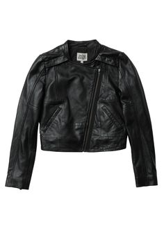 Twist & Tango all Leather black leather biker jacket. A zip detailing at  the front and at lower sleeves. This jacket comes to just above the hip.  Wear with a shirt dress or over black skinny jeans.