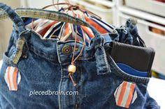 Pieced Brain: Quick Jeans bag Tutorial