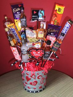 Valentine's Day idea - Man bouquet w/ liquor, chocolate, gift cards & lottery tix!