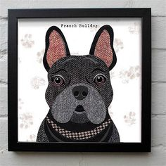 These unique Frenchie prints fit well in any interior and will bring a smile to your face and brighten up your home!. A Black or Brown Frenchie to choose from -These Dog artworks are taken from the Pawtraits range of illustrations by artist Simon Hart created in collage using tweed