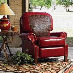 Tooled leather chair recliner Yer killin' me. Red Leather Couches, Red Leather Chair, Leather Club Chairs, Leather Recliner, Tooled Leather, Western Furniture, Home Furniture, Rustic Dining Chairs, Rustic Western Decor