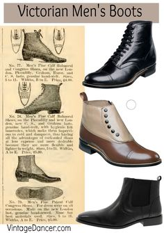 Victorian Men's Boots & Shoes. Classic Victorian era, civil War, Wild West gentlemen's boots in lace up, spat top, and pull on styles. Shop VintageDancer.com/Victorian