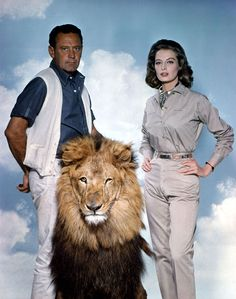 William Holden, Capucine (and lion), in The Lion, 1962.