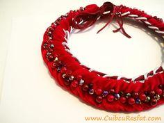 handmade red statement necklace