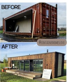 Shipping Container Buildings, Shipping Container Home Designs, Shipping Container House Plans, Container House Design, Building A Container Home, Storage Container Homes, Modern Shed, Modern House Design, Backyard Office