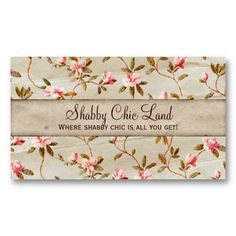 Vintage Floral Pink Shabby Chic Business Card