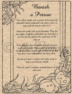 Banish a Person Spell, Book of Shadows Page, BOS Pages, Witchcraft, Wicca