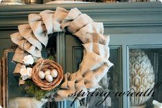 Ruffled Dropped Cloth Wreath.   What a nice idea for a wreath.