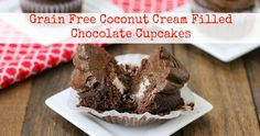 Paleo Chocolate Cupcakes with Coconut Cream Filling (Low Carb and Paleo Friendly). ☀CQ #glutenfree #sweets
