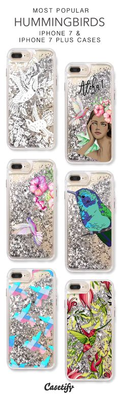 Most Popular Hummingbirds iPhone 7 Cases & iPhone 7 Plus Cases. More protective liquid glitter bird iPhone case here > https://www.casetify.com/en_US/collections/iphone-7-glitter-cases#/?vc=NuDYai1p5l