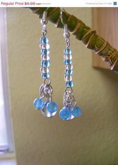 ON SALE Cool Blue and Sparkly Clear Beaded by MultiPolarity, $4.25