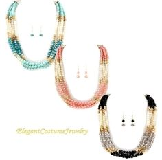 5 Row Chunky Pearl Necklace Set Elegant Jewelry Available in 3 colors
