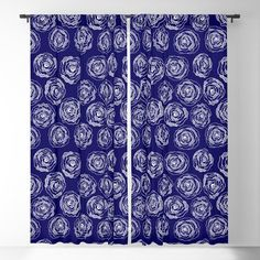 Buy 'Doodle Roses' Navy Blue and White blackout curtains by Notsundoku | Society6. A repeat pattern of hand drawn doodle roses. #repeatpattern #patterns #roses #doodles #doodleart #flowers #handdrawn #Notsundoku #Society6 #Blackoutcurtains #curtains #livingspace #homedecor