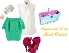 """""""Bright and Flirty Book Clutch"""" by ruby-findley on Polyvore"""
