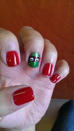 Ninja turtle to match my halloween costume. Excuse the red polish by the mask!