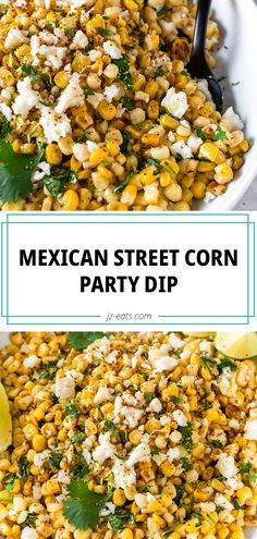 Everyone's favorite Mexican side dish turns into the best ever Mexican Street Corn Dip. You don't even need chips just grab a spoon! Sweet corn and cotija cheese come together to make the tastiest party dip. Corn Dip Recipes, Vegan Recipes Easy, Side Dish Recipes, Mexican Food Recipes, Mexican Party Foods, Mexican Party Appetizers, Mexican Dinner Party, Mexican Corn Dip, Mexican Side Dishes