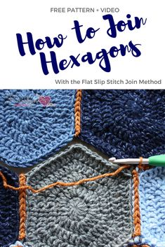 Learn how to join crochet hexagons with the flat slip stitch joining technique. This tutorial includes, photos and video instructions.