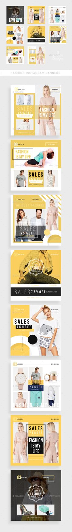 Fashion Instagram Banners — Photoshop PSD #promotional #promotions • Download ➝ https://graphicriver.net/item/fashion-instagram-banners/21159148?ref=pxcr