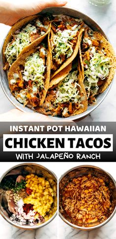 Instant Pot Hawaiian Chicken Tacos with Jalapeño Ranch Juicy pineapple and spiced chicken crisped under the broiler, tucked into tortillas, and rolled up with creamy jalapeño ranch slaw - The ingredients and how to make it please visit the website Chicken Crisps, Chicken Spices, Chicken Tacos, Cooked Chicken, Ranch Chicken, Healthy Meals To Cook, Nutritious Meals, Healthy Cooking, Healthy Recipes