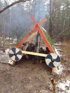 This is our woodland shelter. A true Erik's booth will be built soon. #draugarvinlands #vikings  #vikingwarriors #vikingsword #sword #vikingshield