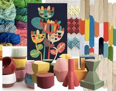 Wild flower art print by  Picomodi  - other images  Instagram  -  Edit Design House  -  Rittenhouse Needlepoint  -  Sight Unseen  -  Modela Flower Studio, Flower Art, Anthropologie Rug, Cole And Son, Color Harmony, Blue Tones, Botanical Prints, Pastel Colors, Mood Boards