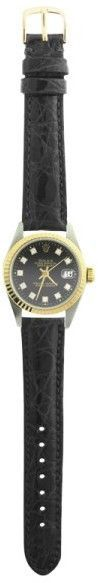Rolex Datejust 6917 Two Tone Black Leather Diamond Dial Automatic 26mm Womens Watch