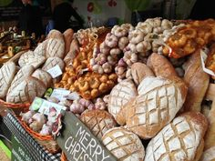 Great selection at the Belfast Christmas Market! Bread and garlic -- what more can one need? yum.