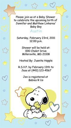 snoopy baby snoopy invitations invitations girl boy or nuetral s