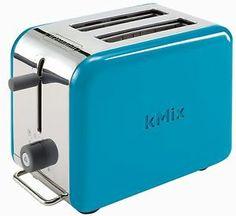 DeLonghi Kmix 2-Slice Toaster Blue Defrost Cancel Warmer Rack View Peek Aluminum
