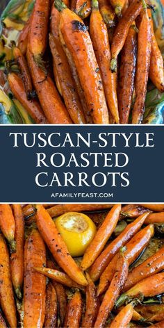 Tuscan-Style Roasted Carrots - Simple and flavorful, these roasted carrots are addictively delicious! It takes just five minutes to prep these carrots for cooking and then just roast for about 45 minutes. The perfect holiday side dish! Healthy Side Dishes, Vegetable Sides, Vegetable Side Dishes, Side Dish Recipes, Vegetable Recipes, Vegetarian Recipes, Cooking Recipes, Healthy Recipes, Simple Side Dishes