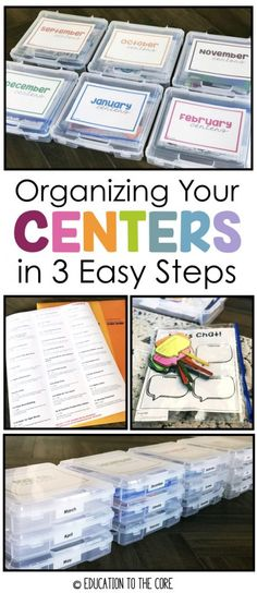 Organizing Your Centers in 3 Easy Steps Consider this scenario: You find the perfect centers, print, laminate, cut and use them for the week. Your kids love them and you are quite proud of your students' gains. If you're lucky, you can use that center for 1st Grade Centers, Kindergarten Centers, Literacy Centers, Kindergarten Decoration, Kindergarten Phonics, Classroom Organisation, Teacher Organization, Classroom Management, Organized Teacher