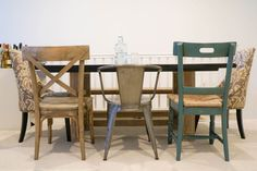 mismatched wooden dining chairs - Google Search