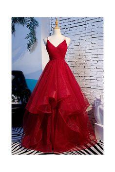 Straps Prom Dresses, Pretty Prom Dresses, A Line Prom Dresses, Sexy Dresses, Red A Line Dress, Senior Prom Dresses, Red Formal Dresses Long, Cinderella Prom Dresses, Burgundy Prom Dresses