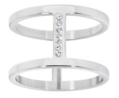Atelier ring 14mm wide with Swarovski crystals, stainless steel