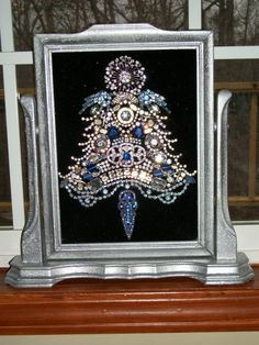 Vintage Rhinestone Jewelry Christmas Tree Framed Art W /Swivel Frame | eBay