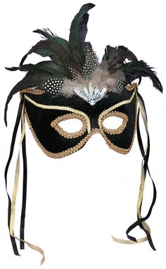 Black Feather Couples Mask This lovely half mask is Black with Gold Trim, Feathers and Black & Gold Ribbons. The mask has an attached, rigid plastic, 'U' shaped headband which allows the mask to swive