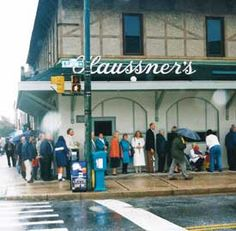 Haussner's Restaurant - Baltimore is no more. They didn't take reservations so there was always a line around the building.