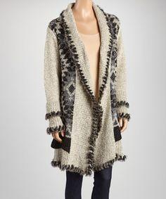 Look at this #zulilyfind! Beige Fuzzy Knit Open Cardigan by Sweet Sinammon #zulilyfinds