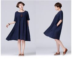 Knee Length Short Sleeve Casual Dresses Tunic Plus Knee Length Shorts, Plus Size Shorts, Lady, Ideias Fashion, Casual Dresses, Short Sleeve Dresses, Tunic, Shopping, Women