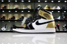 a2108ef18bbff6 Cheap Priced Mens and Womens Air Jordan 1 Retro High OG NRG Gold Toe Black  White-Metallic Gold For Sale - ishoesdesign